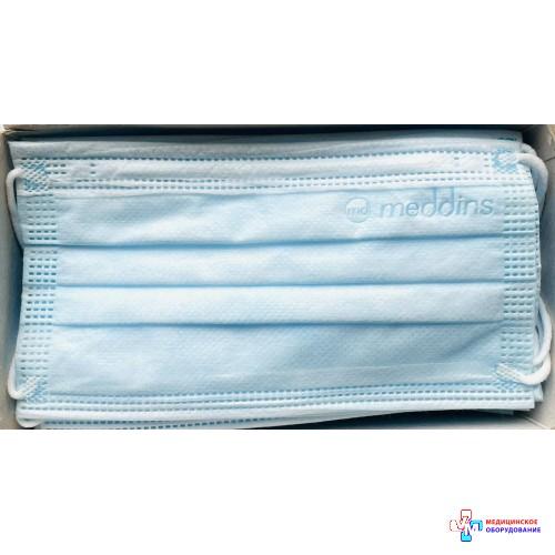 Маска медична тришарова блакитна Meddins 50 шт.
